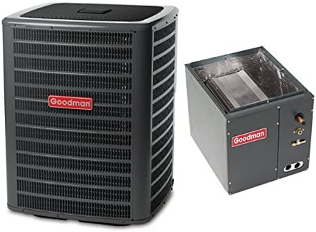 CAPF4860C6 Goodman 3 Ton 16 Seer Air Conditioning System with 4-5 Ton Upflow//Downflow Evaporator Coil GSX160361