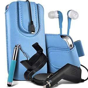 Nokia Lumia 720 premium protección PU botón magnético ficha de extracción Slip espinal en bolsa de la cubierta de piel de bolsillo rápido con lápiz óptico retráctil, Jack de 3,5 mm auriculares auriculares auriculares, cargador de coche USB Micro 12v y 360 Sostenedor giratorio del parabrisas del coche cuna de bebé azul por Spyrox