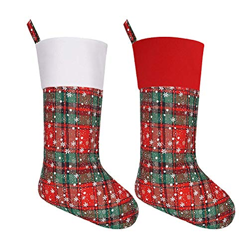 (Large Size 19'' Christmas Stockings with Snowflake, Personalized Stocking Decorations for Family Holiday Season Décor, Set of 2)