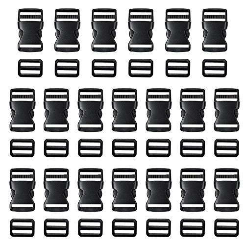 (Coopay 20 Pack 1 Inch Flat Side Quick Release Plastic Buckles and 20 Pack 1 Inch Tri-Glide Slides Adjustment Clips)