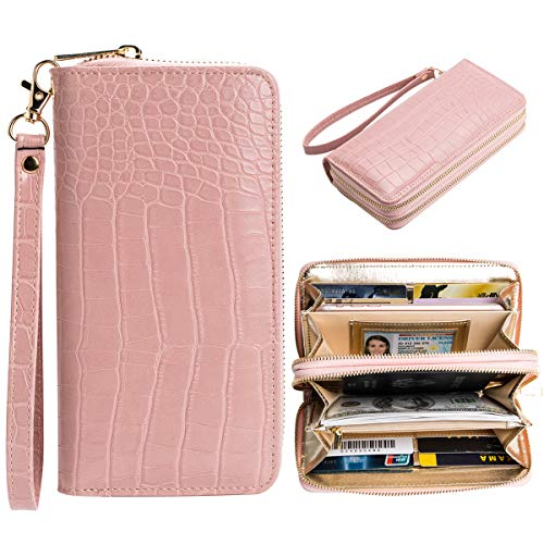- Large Capacity Leather Clutches Wallets Women Pink Crocodile Purse Wallet Handbag Rfid Blocking Wristlet