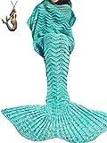 SZXKT Mermaid Tail Blanket For Kids Teens Adult Handmade Wave Mermaid Blankets Crochet Knitting Blanket Seasons Warm Soft Living Room Sleeping Bag 74''x35'' (Green)