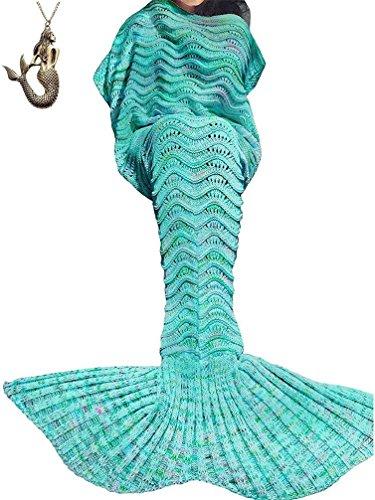 "SZXKT Mermaid Tail Blanket For Kids Teens Adult Handmade Wave Mermaid Blankets Crochet Knitting Blanket Seasons Warm Soft Living Room Sleeping Bag 74""x35"" (Green)"