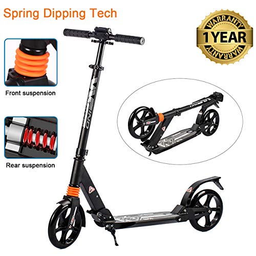 Alloy Dual Suspension - WINDWALKER Scooter for Adults Teens 【Dual Suspension】【Adjustable Foldable】【Big Wheels】【Rear Fender Brake】 Aluminium Alloy Commuter Scooter for Kids Age 12+ Smooth Fast 180lb Weight Limit