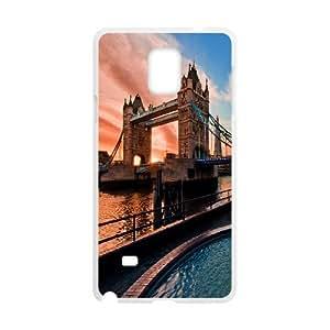 {Funny Series} Samsung Galaxy Note 4 Case Londons Tower Bridge, Funny Cute Case Okaycosama - White