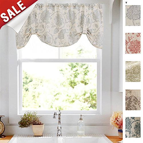 Tie Up Curtains for Windows Linen Textured Adjustable Tie-up Shade for Kitchen Rod Pocket Medallion Design Rustic Jacobean Floral Printed Tie-up Valance (1 Panel,18-Inch ()