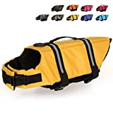 HAOCOO Dog Life Jacket Vest Saver Safety Swimsuit Preserver with Reflective Stripes/Adjustable Belt for All Size Dogs?Yellow,L