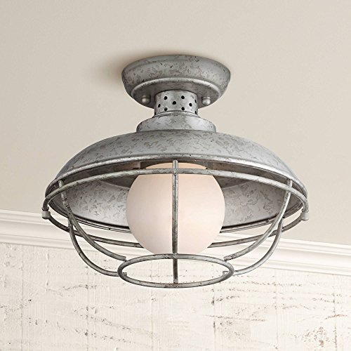 (Franklin Park Rustic Farmhouse Outdoor Ceiling Light Galvanized Steel Cage 12