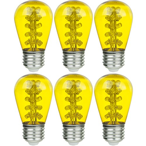 Sunlite S14/30LED/MED/Y/6PK Medium (E26) Base LED 1.1W Yellow Decorative S14 Signs And String Light Bulbs (6 Pack)