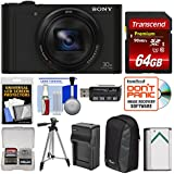 Sony Cyber-Shot DSC-WX500 Wi-Fi Digital Camera (Black) 64GB Card + Case + Battery & Charger + Tripod + Kit