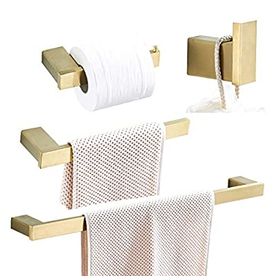 WOLIBEER Brushed Gold Finished Bathroom Accessory Sets of 4 Pieces - Towel Hook Toilet Paper Holder Towel Ring Towel Bar, Wall Mounted Solid Stainless Steel Construction