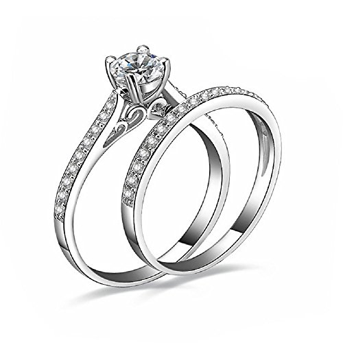 925 Sterling Silver Cubic Zirconia Anniversary Bridal Wedding Band Engagement Ring Set (10)