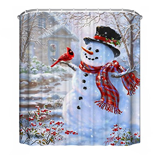 "TOOPOOT Merry Christmas Waterproof Bathroom Shower Curtain With Hooks (71""x71"", d1)"