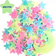 Glow in The Dark Stars,Stars Stickers for Ceiling,Adhesive 200 Pcs 3D Glowing Stars and Moon for Wall Decorati