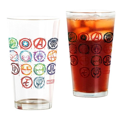 CafePress Marvel All Splatter Icons Pint Glass, 16 oz. Drinking Glass