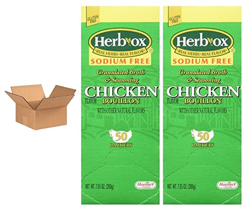 Hormel Herb Ox Chicken Bouillon Sodium Free 50 Packets (Case of 2)