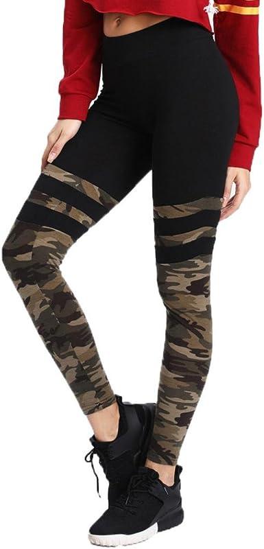 Angelof Leggings Sport Minceur Couture de Camouflage Femme Yoga Pants Militaire Ado Fille Pantalon Fitness