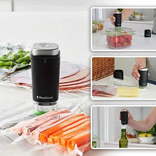 FoodSaver VS1192X 1 recipiente para contenidos frescos y 5 bolsas con cremallera para contenidos frescos Envasadora al vac/ío de alimentos inal/ámbrica y port/átil con base de carga