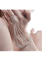 Rhinestone Pattern Elegant Sexy Slave Bracelet Belly Dancer Bridal w Ring