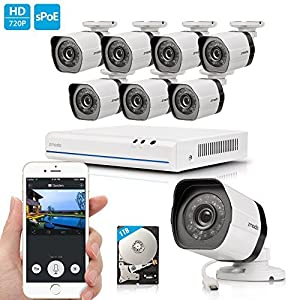 Zmodo 720p HD NVR Weatherproof Surveillance Video Security Camera System 1TB Hard Drive Remote Access Motion Detection