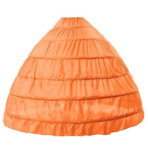 MISSYDRESS Full A-line 6 Hoops Floor-Length Bridal Dress Gown Slip Petticoat Orange -