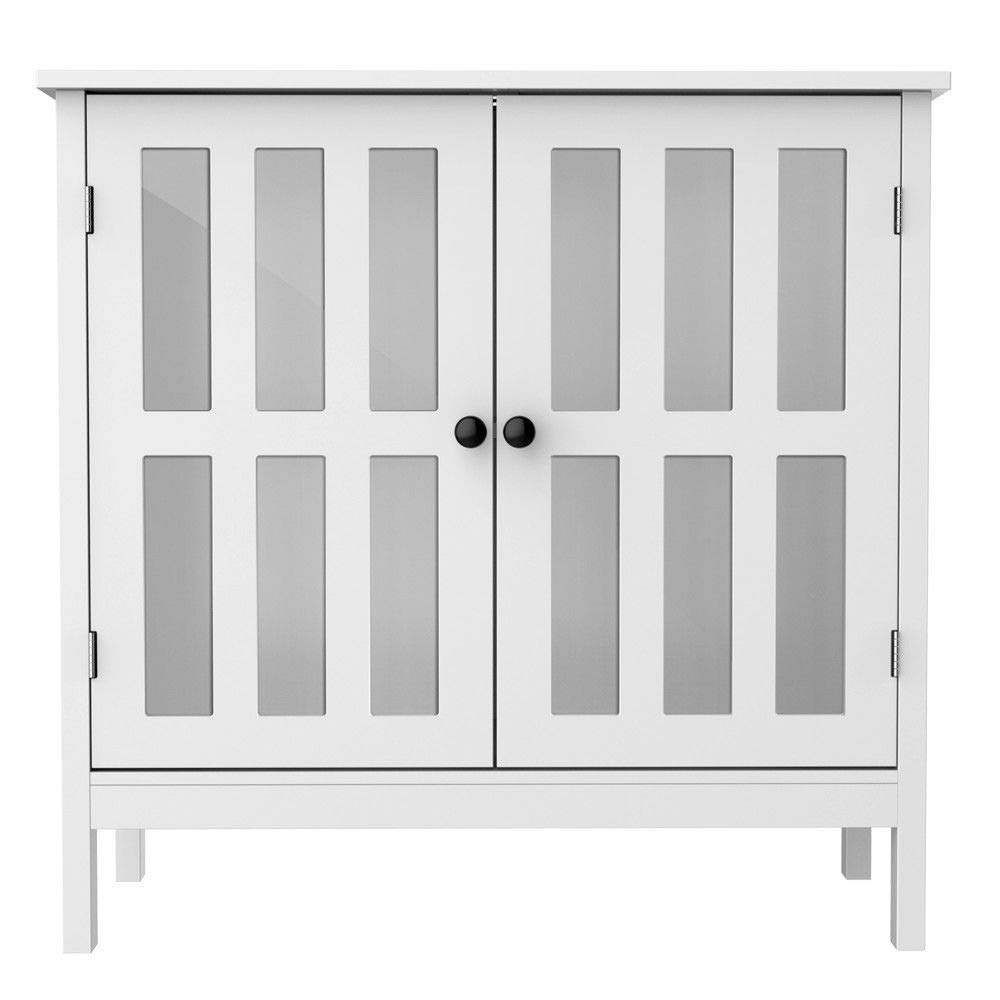 Seleq White MDF, Wood and Glass Buffet Cabinet Storage Cupboard