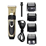 UZQS uccess Pet hairdressing assistant,Low Noise Rechargeable Electric Grooming Clippers Trimming Kit Set for Pet Dogs and Cats (Gold)