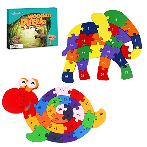 Monilon Wooden Blocks, 52 Pcs Kids Toys Alphabets & Numbers Winding Snail & Elephant Jigsaw Puzzle - Preschool Learning Educational Toy Set Gifts Toy for Kids 3 4 5 6 + Years Old Toddlers Boys Girls ()