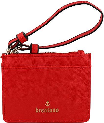 B BRENTANO Vegan Saffiano Leather Slim ID Credit Card Case with Wristlet Strap (Cherry)