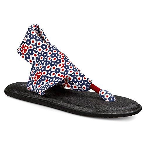 Sanuk Womens Yoga Sling Patriot Patriotic Kaleidoscope Sandal 7 B (M)