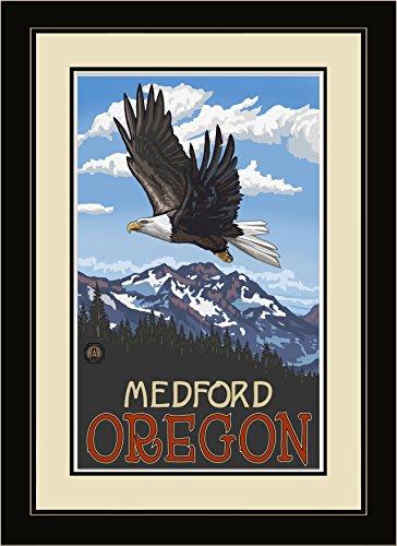Northwest Art Mall EGS Medford Oregon Bald Eagle Framed Wall Art by Artist Paul A. Lanquist, 16