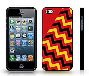 iStar Cases? iPhone 4 Case with Chevron Pattern Red/ Black/ Yellow Stripe , Snap-on Cover, Hard Carrying Case (Black)