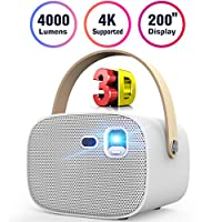 Mini Projector 4000 Lumens 3D Portable DLP Video Projector ±40° Keystone Built in Stereo Speaker Support 4K HDMI USB iPhone PC Bluetooth PS4 200″ Home Theater Outdoor Gaming Wireless Screen Sharing
