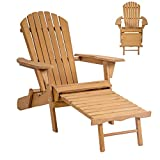 Lapha' Wood Beach Chair Pool Chair Sunbathe Rustic Country Style Outdoor Foldable w/Pull Out Patio Furniture