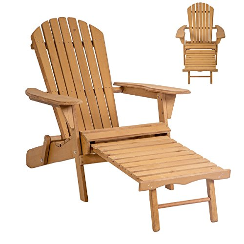 Lapha' Wood Beach Chair Pool Chair Sunbathe Rustic Country Style Outdoor Foldable w/Pull Out Patio Furniture by Lapha'