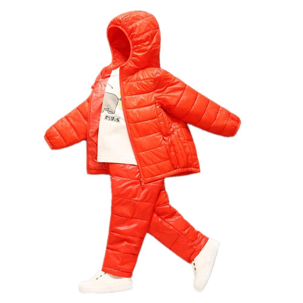 Orange 90cm YZ-HODC Enfants Manteau + Pantalon Hiver Unisexe Doudoune épaissir à Capuche Outwear Couleur Unie Chaud Coupe-Vent Deux-pièces Costume