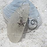 Custom Surf Tumbled Sea Glass Starfish Ornament - Choose Your Color Sea Glass Frosted, Green, and Brown.