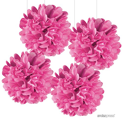 Andaz Press Large Tissue Paper Pom Poms Hanging Decorations, Fuchsia, 14-inch, 4-Pack, Girl Unicorn Sweet 16 Teen Birthday Decor Colored Party Supplies