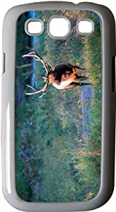 Rikki KnightTM Bull Elk - White Hard Rubber TPU Case Cover for Samsung? Galaxy i9300 Galaxy S3