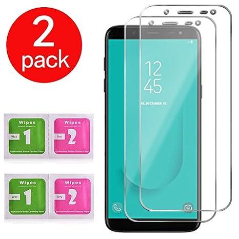 CUAgain [2 piezas] Samsung Galaxy J6 (2018) Cristal Templado Transparente 9H Tempered Glass 3D Touch Antigolpes Protección Screen Protector para Samsung ...