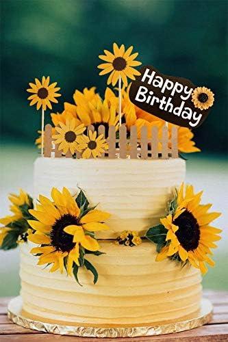 LaVenty Sunflower Birthday Cake Decoration Sunflower Party Supplies Sunflower Decorations Summer Birthday Decoration