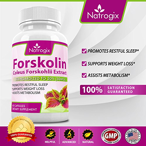 Natrogix 250mg Forskolin Extract - Coleus Forskohlii Root Extract Promotes Healthy Enzyme & Metabolism, Helps Break Down Fat Cells to Lose Weight, Made in USA (60 Capsules)*(3 Bottles).