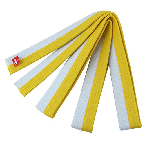 (uxcell Cotton Blend Master Martial Arts Kendo Karate Taekwondo Uniform Sporty Band Belt 220cm Length White Yellow )
