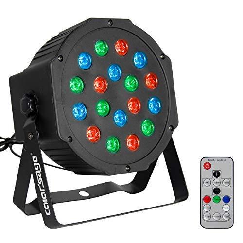 (COLOR'SAGE DJ Par Light RGB 18Leds Wash Stage Lighting with Remote and DMX Control for Disco Party Wedding)