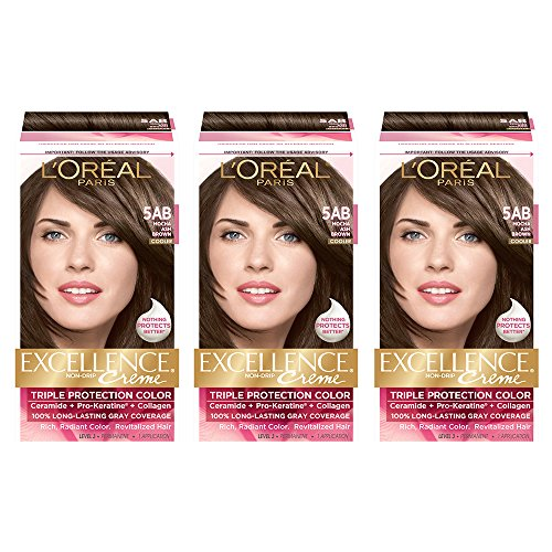 (L'Oreal Paris Excellence Creme Permanent Hair Color, 5AB Mocha Ash Brown (Pack of 3))