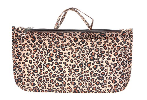 - Vercord Printed Purse Handbag Tote Insert Organizer 13 Pockets with Zipper Handle Leopard Large