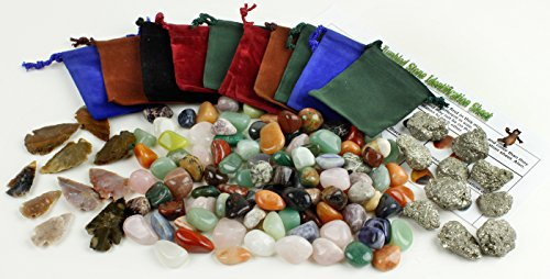 Rocks & Mineral Party Favor Bag Kit. Includes 1 lb of Tumbled Stones and 10 each of Pyrite, Arrowheads, & Velvet Pouches plus ID Sheet-Gifts for Kids, Boys, Girls, Teens and Adults. Dancing Bear brand