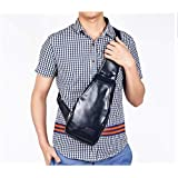 Fashion sports travel leather crossbody single shouder chest bag for men blue BC01-1