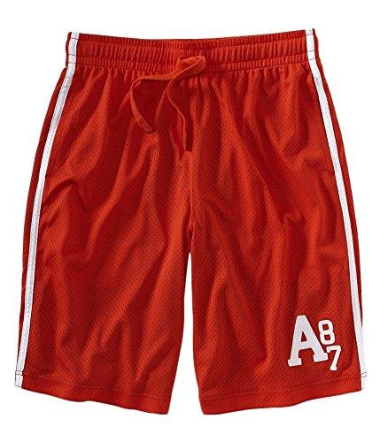 Aeropostale Mens Mesh Lined Basketball Athletic Walking Shorts, Orange, X-Small