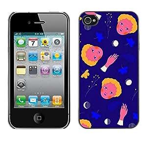 FECELL CITY // Duro Aluminio Pegatina PC Caso decorativo Funda Carcasa de Protección para Apple Iphone 4 / 4S // Space Abstract Moon Child Mother Mon